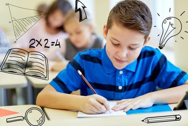 Image of a school boy with Maths equations in his mind