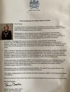 Image of a letter from mayor